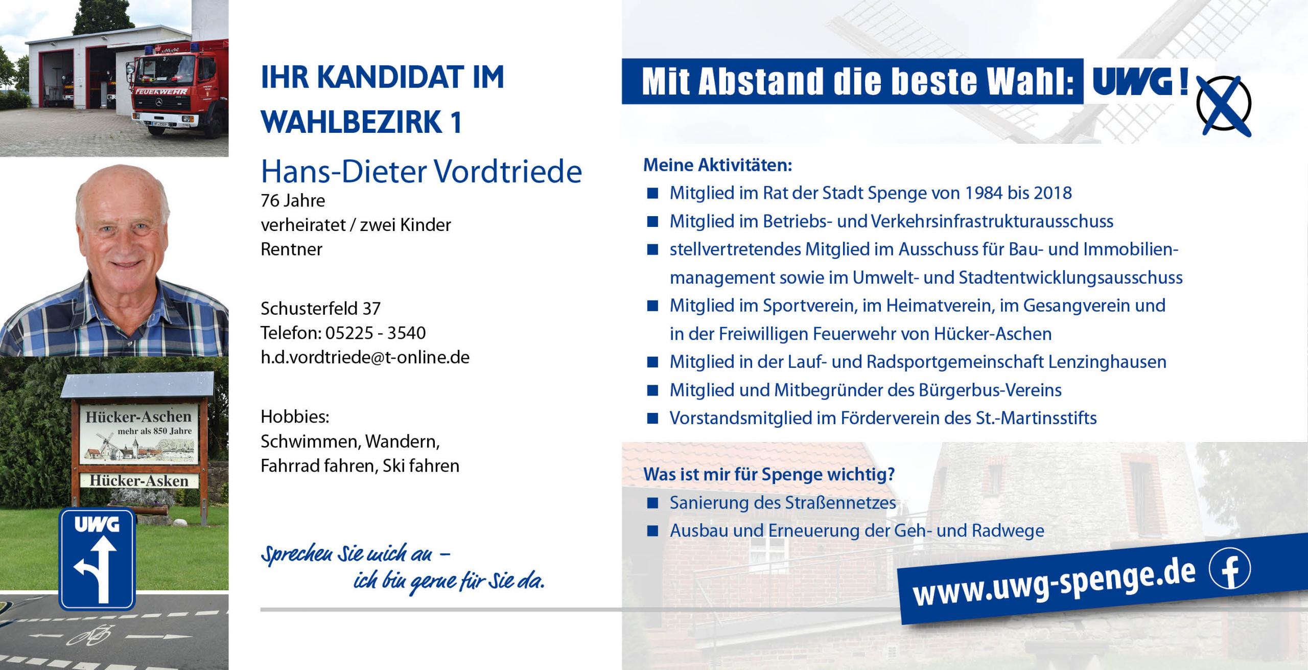 Kandidatenvorstellung Hans-Dieter Vordtriede
