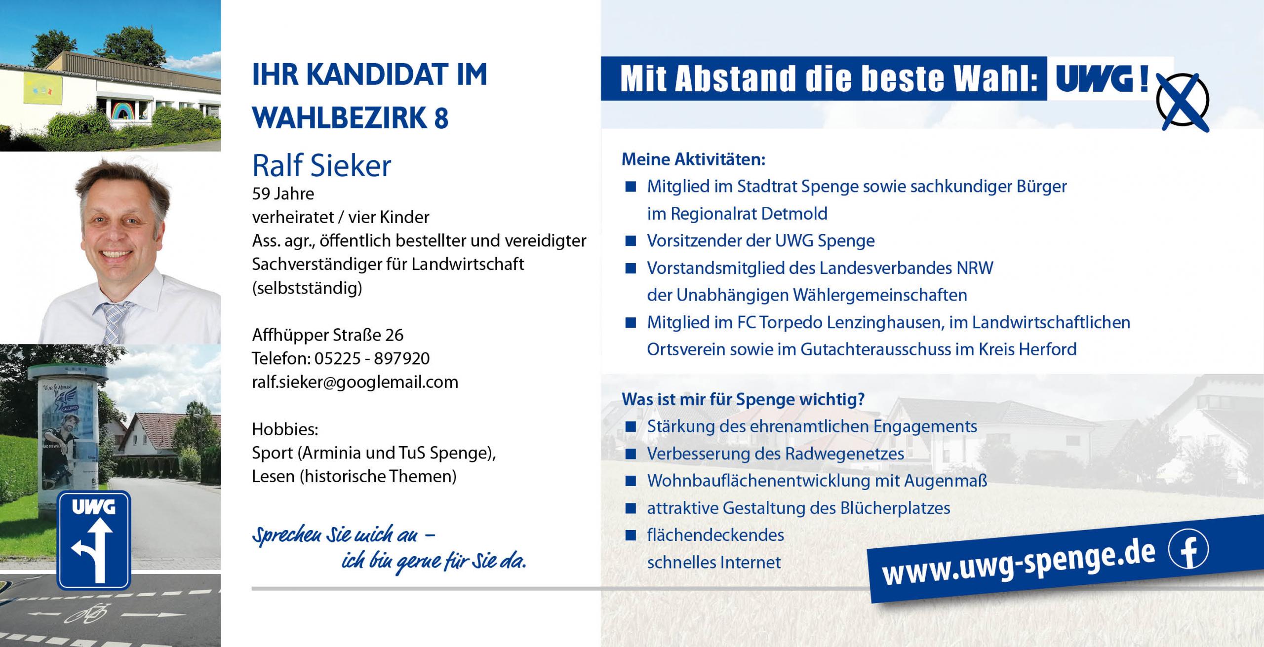 Kandidatenvorstellung Ralf Sieker